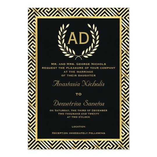 Black, gold Greek key and laurel wreath wedding