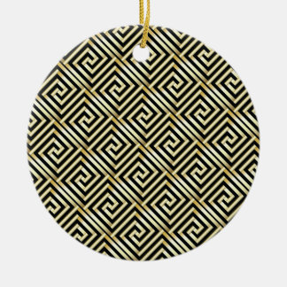 Black, gold Greek key pattern Christmas Ornament