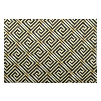 Black, gold Greek key pattern Placemat