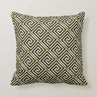 Black, gold Greek key pattern Throw Pillow