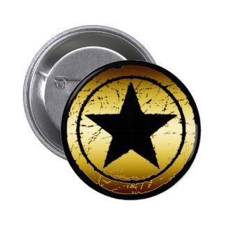 BLACK & GOLD GRUNGE STAR 6 CM ROUND BADGE