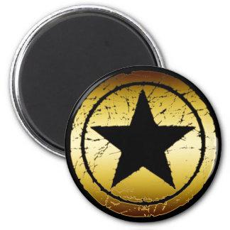 BLACK & GOLD GRUNGE STAR 6 CM ROUND MAGNET