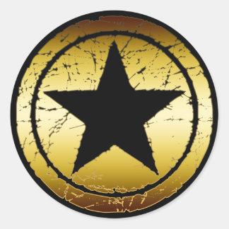 BLACK & GOLD GRUNGE STAR CLASSIC ROUND STICKER