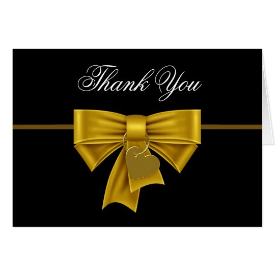 Black Gold Heart Bow Thank You Cards