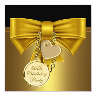Black Gold Heart Bow Womans 50th Birthday Party Card