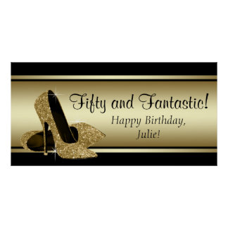 Black Gold High Heel Birthday Party Banner Poster