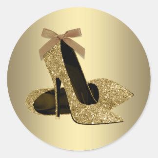 Black Gold High Heel Shoe Classic Round Sticker
