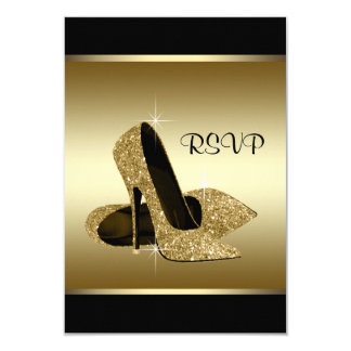 Black Gold High Heel Shoe RSVP Card