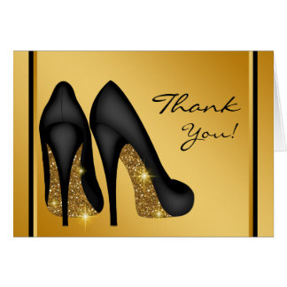 Black Gold High Heel Shoe Thank You Note Card