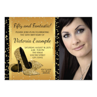 Black Gold High Heel Shoes Birthday Party 11 Cm X 16 Cm Invitation Card