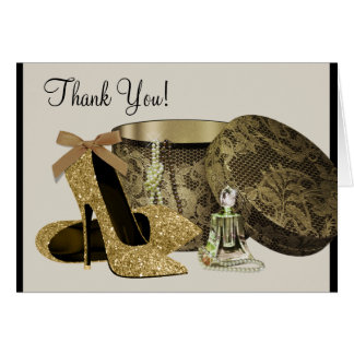 Black Gold High Heel Shoes Thank You Cards
