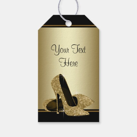 Black Gold High Heel Shoes Womans Birthday Gift