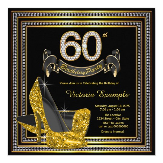 Black Gold High Heel Womans 60th Birthday Party