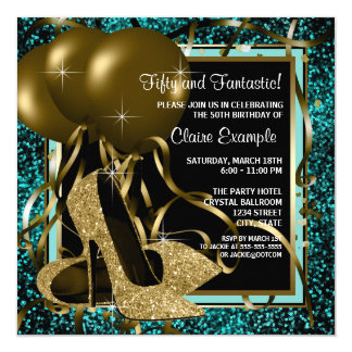 Black Gold High Heels Birthday Party Customized Announcement Card