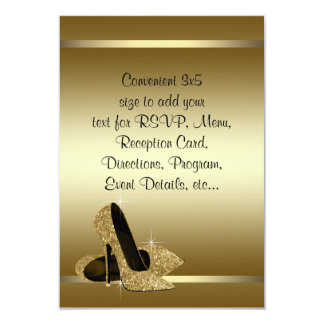 Black Gold High Heels RSVP 9 Cm X 13 Cm Invitation Card