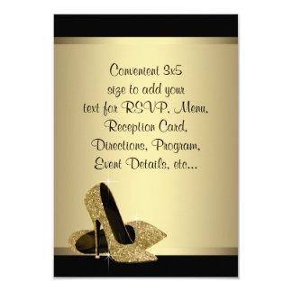 "Black Gold High Heels RSVP 3.5"" X 5"" Invitation Card"