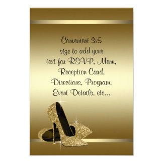 Black Gold High Heels RSVP Personalized Invitation
