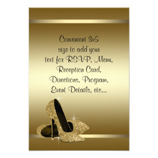 Black Gold High Heels RSVP Personalized Invitation