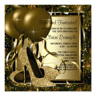 Black Gold High Heels Womans Birthday Party 13 Cm X 13 Cm Square Invitation Card