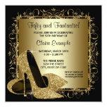 Black Gold High Heels Womans Birthday Party 13 Cm X 13 Cm Square Invitation Card