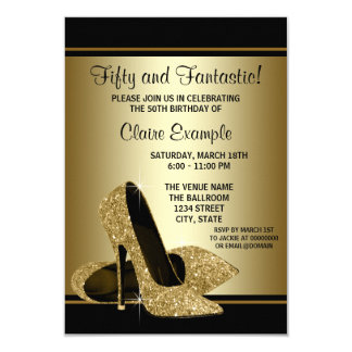 Black Gold High Heels Womans Birthday Party 9 Cm X 13 Cm Invitation Card