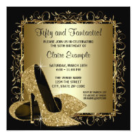 Gold and black 50th birthday invitations announcements zazzle black gold high heels womans birthday party filmwisefo Images
