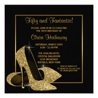 Black Gold High Heels Womans Brithday Party Custom Invitation