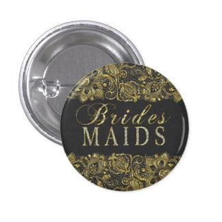 Black & Gold Lace Bridesmaids Text Design 3 Cm Round Badge