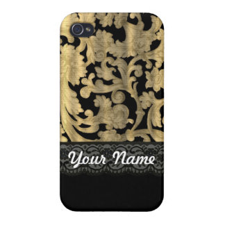 Black & gold lace damask case for iPhone 4