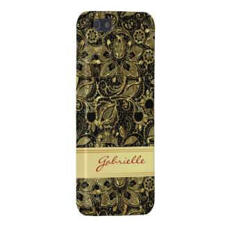 Black & Gold Leaf Look Vintage Floral Lace iPhone 5 Covers