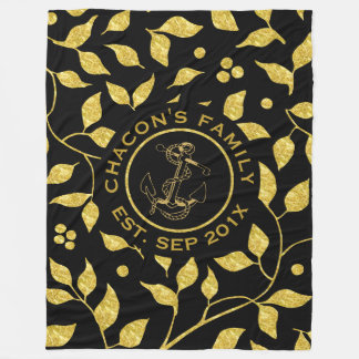 Black & Gold Leafs Seamless Pattern Fleece Blanket