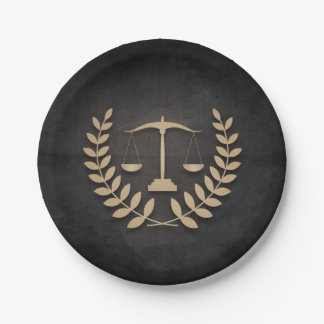 Black+Gold Legal Practice/Law Firm/Attorney Paper Plate
