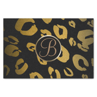 Black Gold Leopard Cheetah Monogram Letter Initial Tissue Paper