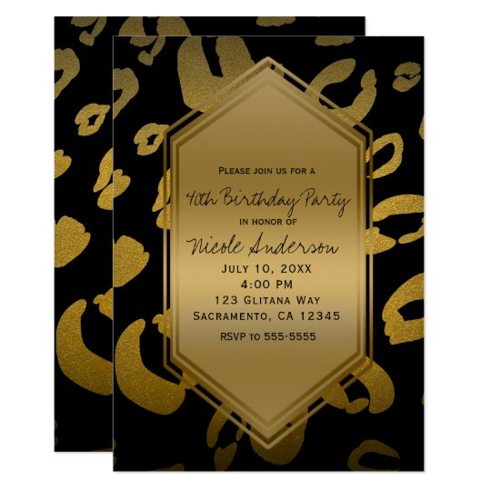 Black Gold Leopard Print Birthday Party Any Event