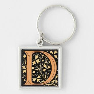 Black & Gold Letter 'D' Key Ring