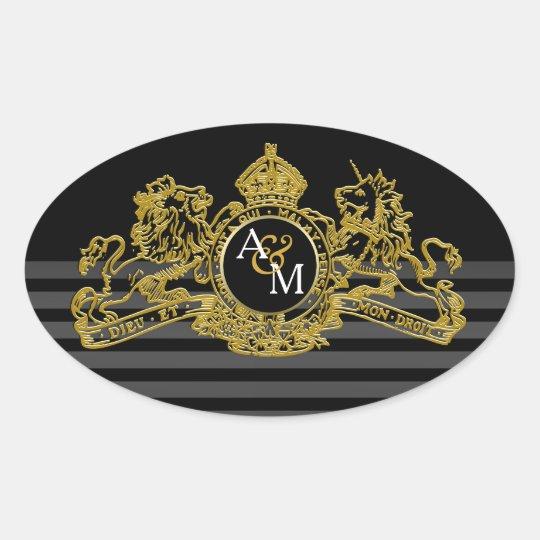 Black Gold Lion Unicorn Regal Emblem Monogram Oval