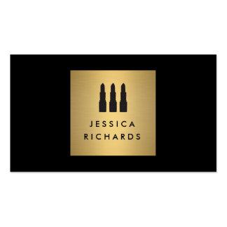 Black/Gold Lipstick Trio Logo for Makeup Artist Business Cards