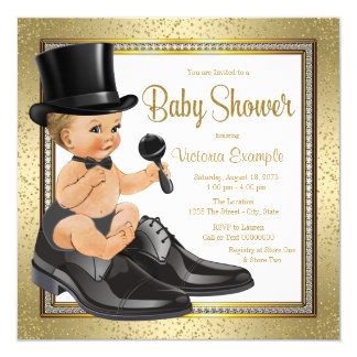 Black Gold Little Man Baby Shower 13 Cm X 13 Cm Square Invitation Card