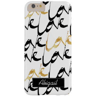 Black & Gold Love Monogram Phone Case