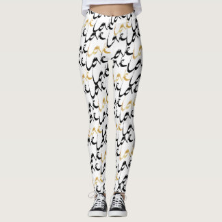 Black & Gold LOVE Women's Leggings