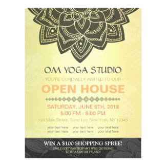 Black Gold Mandala YOGA Massage Therapy Open House 21.5 Cm X 28 Cm Flyer