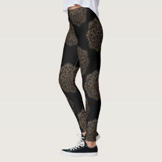 Black Gold Mandalas Pattern | Zen Boho Yoga Pants