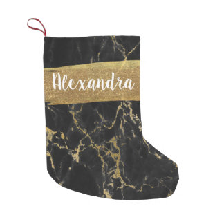 Black & Gold Marble Glitter and Sparkle Small Christmas Stocking