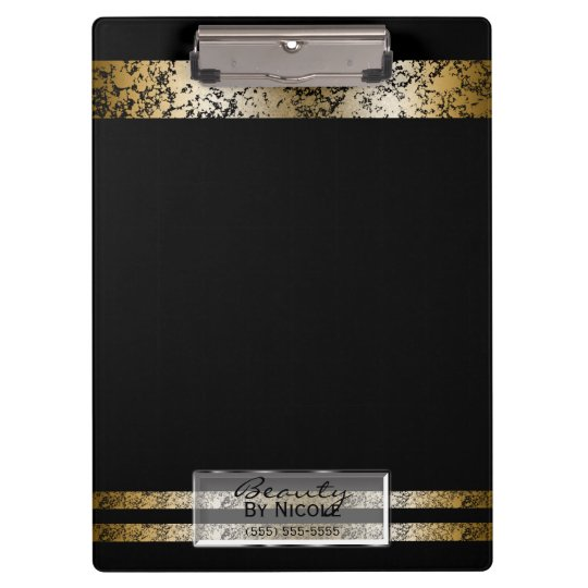 Black & Gold Marble Modern Fashion Personalised Clipboard