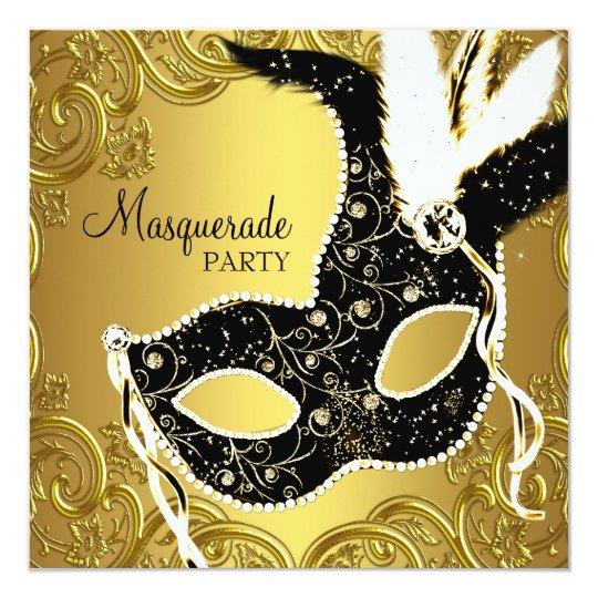 Black Gold Mask Masquerade Ball Party Card