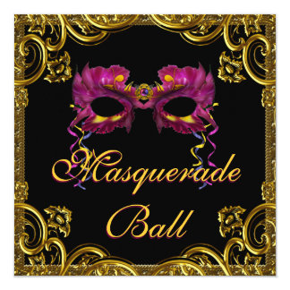 Black Gold Mask Masquerade Party 13 Cm X 13 Cm Square Invitation Card