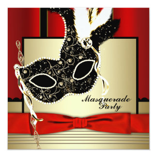 Black Gold Mask Red Black Masquerade Party 13 Cm X 13 Cm Square Invitation Card