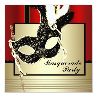 Black Gold Mask Red Black Masquerade Party 5.25x5.25 Square Paper Invitation Card