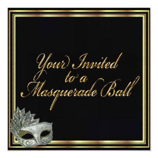 Black Gold Masquerade Ball Invitation Collection