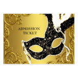 Black Gold Masquerade Party Admission Tickets Pack Of Chubby Business Cards